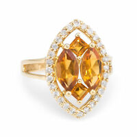 Citrine Diamond Navette Cocktail Ring Vintage 14k Yellow Gold Estate Jewelry