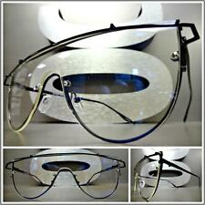 Mens Women VINTAGE RETRO SHIELD Style Clear Lens EYE GLASSES Black Fashion Frame