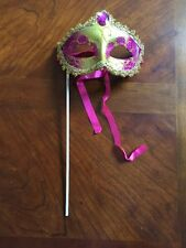 PINK GOLD BRAID MASK MARDI GRAS MASQUERADE COSTUME MASKS DECORATIONS