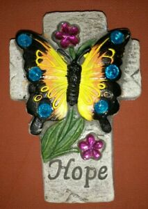 Butterfly Cross Mini Stepping Stone, Wall Hanging, Colorful Garden Decor HOPE