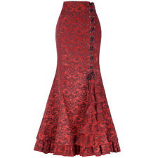 Women Mermaid Skirt Fishtail Bodycon Long Dress Evening Party Pleated Ruffle Red