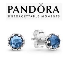 Genuine Pandora Blue Sparkling Crown Stud Earrings