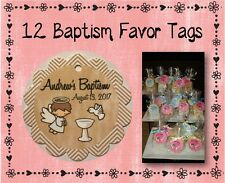 "12 Personalized Baptism Party Favor Tags - 2"" Round Scalloped - #8 Kraft Chevron"