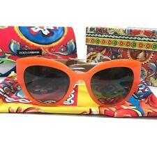 Dolce & Gabbana 52mm Cat Eye Sunglasses Orange New