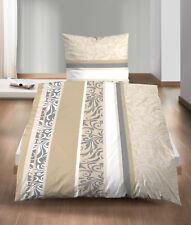 Bettwäsche 135x200 Fein Biber Baumwolle 4tlg RV Ornamente beige grau weiß