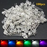 100Pcs 5mm Straw Hat LED Wide Angle Light Emitting Diodes Water Clear 6Color DIY