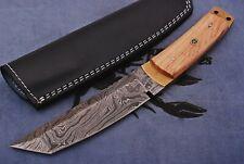 Custom Handmade Damascus Steel Tanto Point Knives Hunting Knife Burl Olive Wood