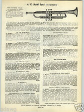 1939 PAPER AD A K Huttl Instruments Trumpet Cornet Trombone French Horn Battoney