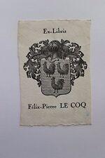 ✒ EX LIBRIS Félix-Pierre Le Coq - armorié