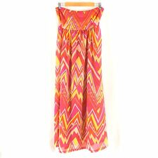 M Missoni Swim Cover Strapless Flowy Chevron Colorful Semi Sheer Pink Yellow L