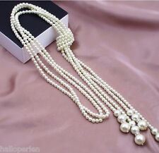 Fashion Multilayer Girl Womens Pearl Long Chain Necklace Knot Sweater Chain