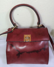 Vintage CELINE Paris Burgundy Leather Small Tote Sling Bag