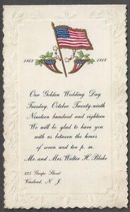 1918 2 PART GOLDEN WEDDING ANNIVERSARY INVITATION FROM VINELAND, NJ, GAR, FLAG