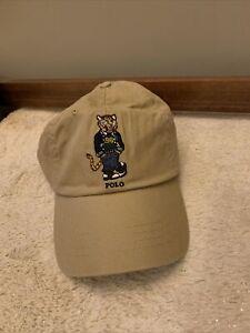 NWT - Polo Ralph Lauren TIGER BASEBALL CAP 6-Panel Dad Hat TAN TWILL OS