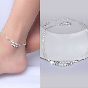 Womens Fashion Jewelry 925 Silver Plated Small Spheres Anklet Ankle Bracelet 4-4