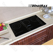 29.5inch Black Glass Induction Hob 3 Burner Built-in Electric Cooktops IH Cooker