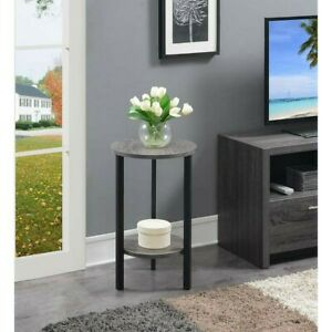 """Plant stand, top & bottom wood shelf, metal frame, small round 24"""" accent table"""