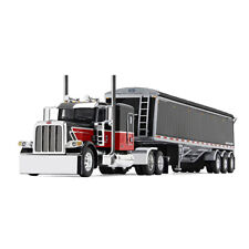 First Gear DCP 1:64 *BLACK & RED* PETERBILT 389 w/LODE KING HOPPER GRAIN TRAILER
