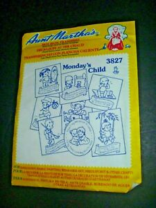 AUNT MARTHA'S HOT IRON TRANSFERS - MONDAY'S CHILD #3827 - BABY - EMBROIDERY NEW