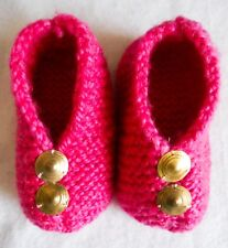 """Hand Knitted """"Baby"""" Bootees 24 Months Size 7 Pink Wool with Gold Buttons 2 Years"""