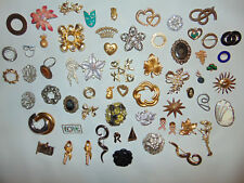 LOT 42 Vintage SIGNED Marked CHRISTMAS HOLIDAY Earrings Jewelry Brooches Pins **