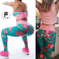 Women Yoga Pants High Waisted Floral Push Up Stretch Leggings Sport With Pockets