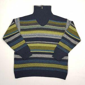 ENGBERS Mens 1/4 Zip Jumper 42 Blue Green Multi Stripe Long Sleeve Wool Mix Xmas