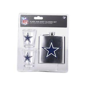 NFL Dallas Cowboys 6oz Flask  & 2oz Glass Shot Set Stainless Steel Flask