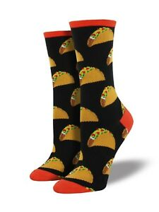 "Socksmith Women's Socks Novelty Crew Cut Socks ""Tacos"" / Choose Your Color!!"