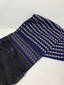Vtg Boho textile Table runner hand-woven table runner Indigo Blue & Black