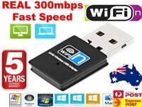 300Mbps N WiFi Adapter Dongle Network LAN Card 802.11n USB Wireless Windows 10 .