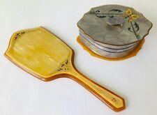 Lucite Bakelite Vanity Mirror & Powder Jar Butterfly Amber & Grey 1920s Dresser