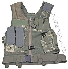 ACU Digital Camo Mesh Tactical Vest - 7 Front Pockets/Front Gun Holster