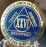 26 Year AA Medallion Blue Gold Plated Alcoholics Anonymous Sobriety Chip Coin