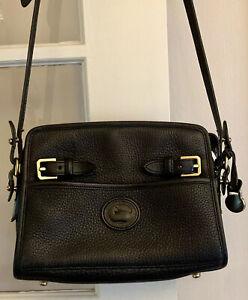 Vintage Dooney & Bourke Double Buckle Black All Weather Leather Cross Body Bag