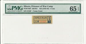 USA WWII POW Camp Chits IL-3-1-1a Camp Grant, IL 1 Cent Prisoner of War PMG 65