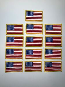 """Lot Of 13 USA AMERICAN FLAG Embroidered Patches SEW-ON Gold Border (3½ x 2"""")"""