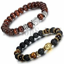 Men's Women's imitation sandalwood Lava Stone Buddha Beaded Bangle Bracelet 2pcs