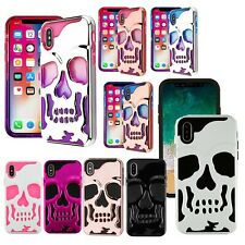 For iPhone X / XS Case Skull Series Military Grade Cover Dual Layer