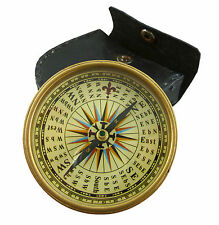 Brass Compass in Leather Pouch - ideal nautical gift