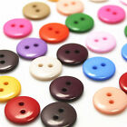 100Pcs 15MM DIY 2 Hole Round Resin Plastic Buttons Scrapbooking Sewing Craft DIY