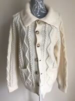 Womens Cardigan Size 18 Cream Collared With Buttons Pockets Hans Cable Knitted