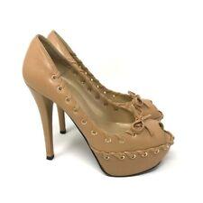Stuart Weitzman Womens Platform Pumps Beige Leather Peep Toe Bow Heels Shoes 6 M