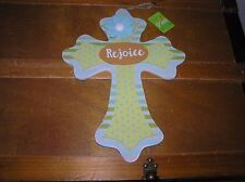 Blue Yellow & Green Polka Dotted Striped Layered Wood Spring Easter Cross Wall