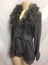 NWT -Fantazia -Sz M -Ruffle/Faux Fur Collar Gray Jacket -Button Cardigan Sequins