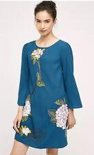 Anthropologie Sapphire Hydrangea Swing Dress By Varun Bahl Size 4