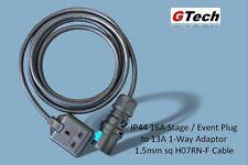 1m negro total 16A Enchufe para 13A 1-Way Adaptador De Cable H07RN-F - 1.5mm - etapa/Eventos