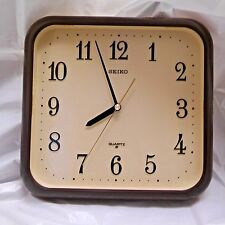 Seiko Quartz Vintage Square Plastic Brown Beige Wall Clock 1980's Made In Japan