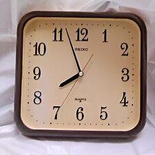 Seiko Quartz Vintage Square Plastic Brown Beige Wall Clock 1980's Made In Japan