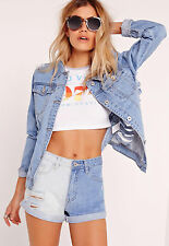 Missguided: Boy Fit Bleached Denim Shorts Blue, Size 10 NWT